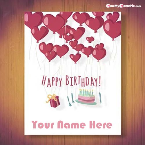 Happy birthday greeting card wishes images with name writing