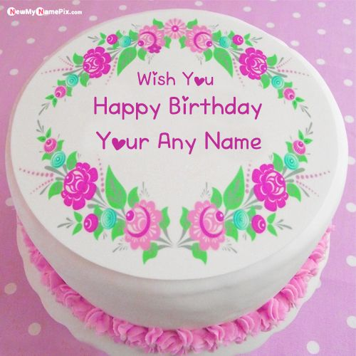 Beautiful birthday cake photo with name wishes frame creator images