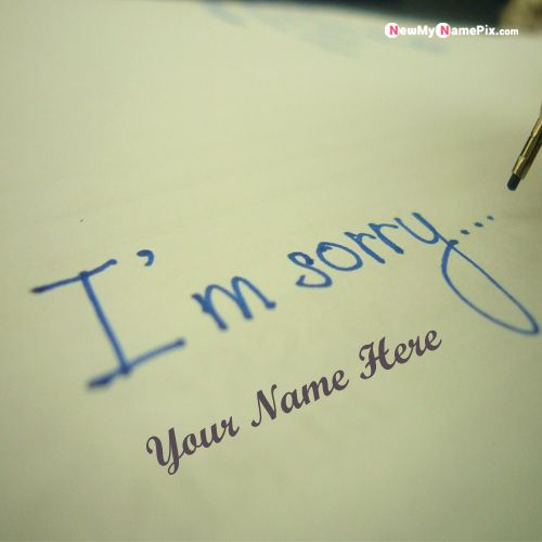 I Am Sorry Note With Name Images Download Free