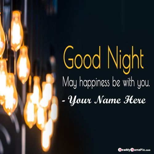 Good night message images with personalized name wishes card