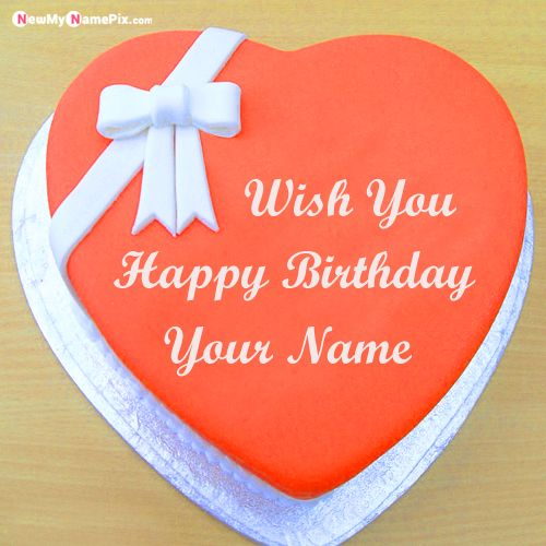 Make your name on red heart happy birthday cake wishes images edit