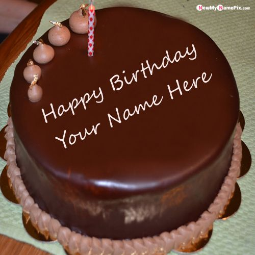 Chocolate happy birthday cake with your name wishes photo create online free