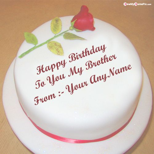 Birthday Cake For Brother Name With Photo Frame Create Images Online