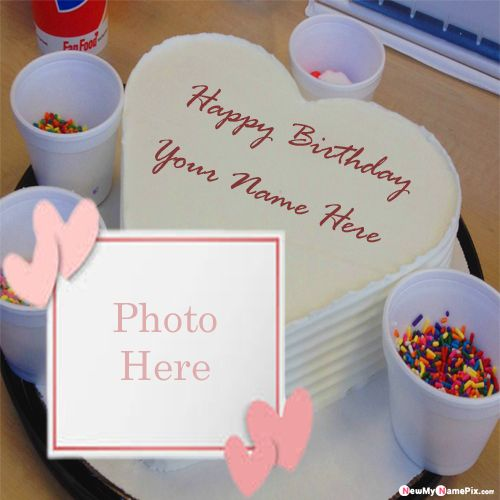 Birthday cake on name with photo wishes #1 images create online
