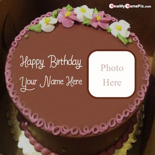 Chocolate birthday cake wishes name with photo add frame download free