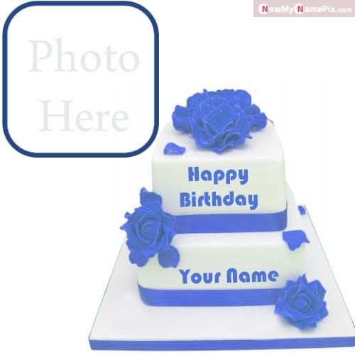 Flowers Big birthday cake wishes images with name photo frame download