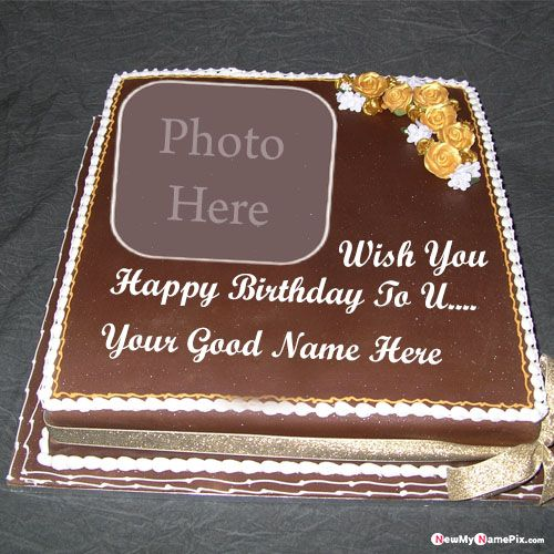 Chocolate happy birthday wishes cake image with name photo add