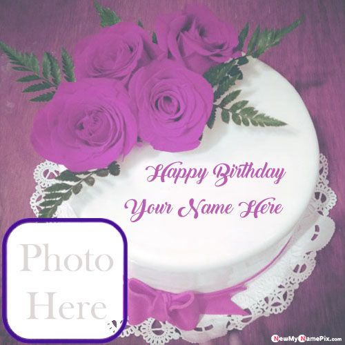 Flowers birthday cake with your name and photo wishes pictures