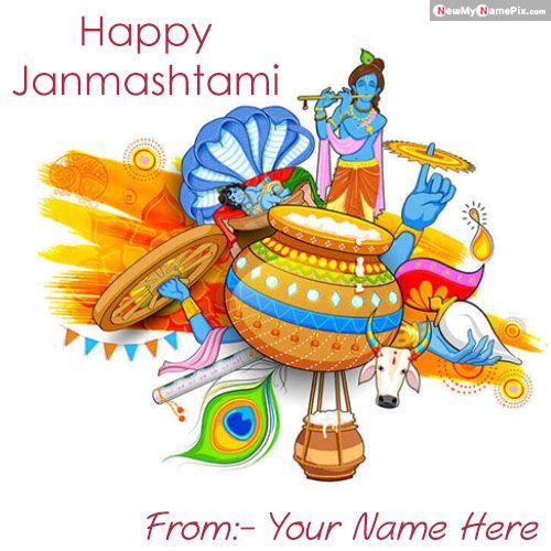 Personalized name write beautiful festival janmashtami wishes pic