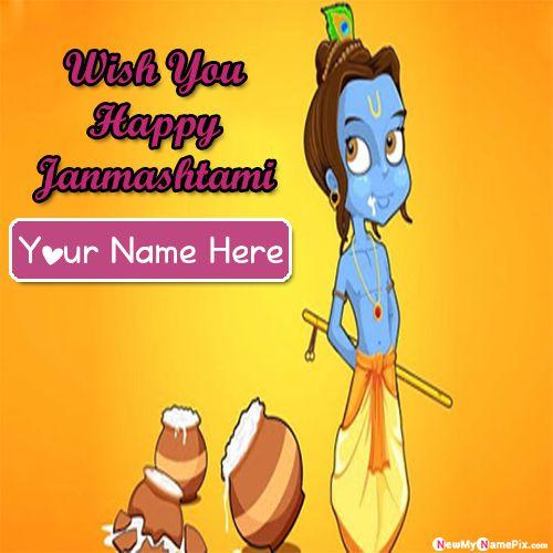 Lord krishna happy janmashtami greeting card image with name write
