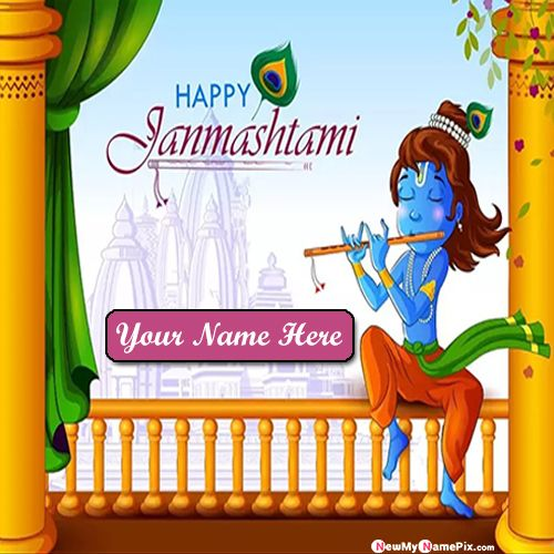Janmashtami festival bal krishna photo with name writing create card