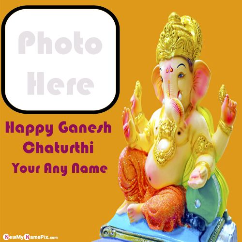 Ganesh chaturthi whatsapp profile with name and photo frame