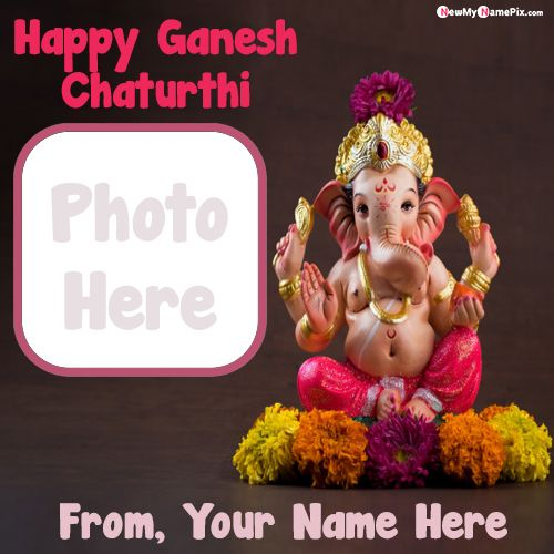 Make photo frame festival happy ganesh chaturthi wishes pictures