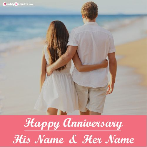 Happy Anniversary Couple Name With Photo Frame Wishes