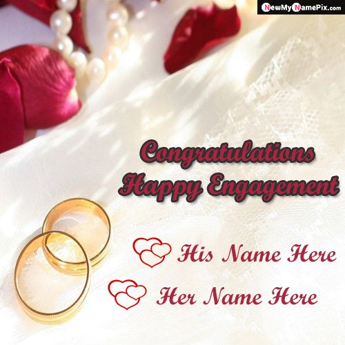 Love Ring Happy Engagement Couple Name Wishes Pictures Create