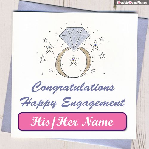 Happy Engagement Congratulations Wishes Greeting Card Photo With Name Pic