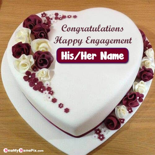 Happy Engagement Cake With My Name Wishes Pictures Create Online