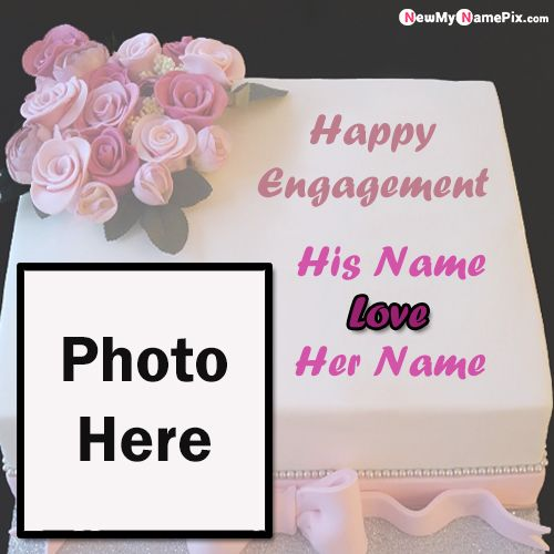 Happy Engagement Wishes Photo Frame Cake Special Name Write