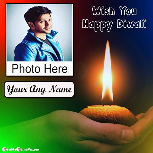 Happy Diwali Name Wishes Photo Frame Card Download Free