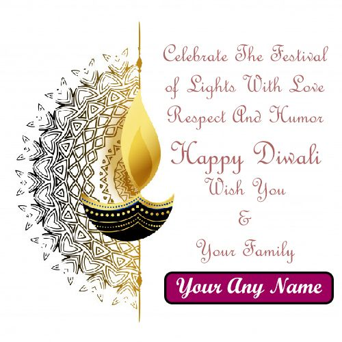Happy Diwali Quotes Photo With Name Wishes Card