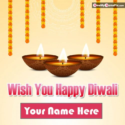Custom Name Print Diwali Wishes Photo Download Free