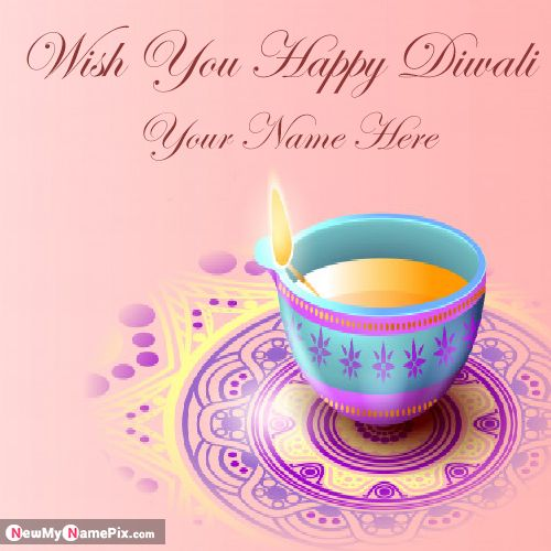 Husband Name Write Beautiful Diwali Greeting Card