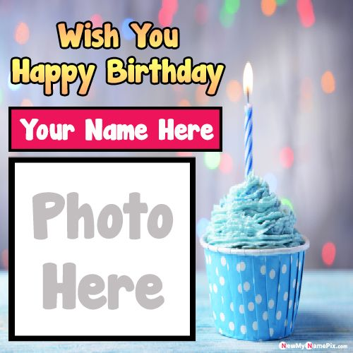 Happy Birthday Cake Wishes Name And Photo Frame