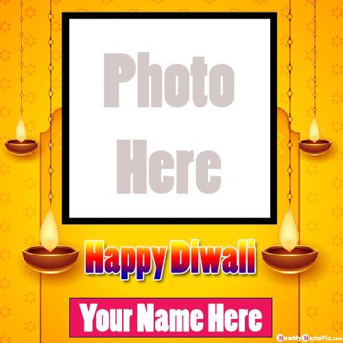 Happy Diwali Greeting Card Photo Frame Wishes