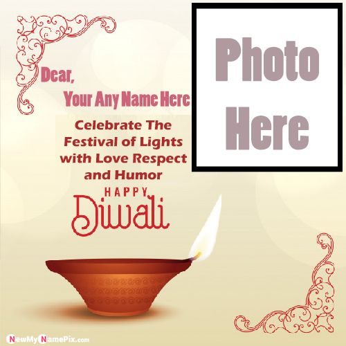 Deepawali Quotes With Photo Frame Name Wishes Card