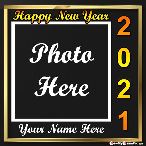 2021 Happy New Year Greeting Card With Name Photo Frame